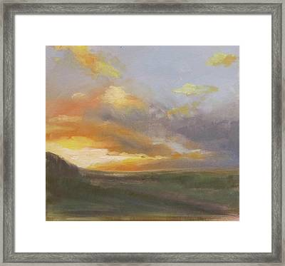 Sunset Over The Valley Framed Print by Podi Lawrence