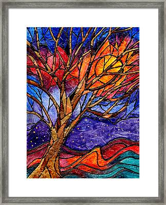 Sunset Tree Abstract Framed Print by Elaine Hodges