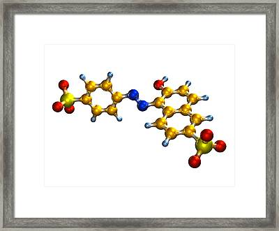 Sunset Yellow Food Colouring Molecule Framed Print by Dr Mark J. Winter