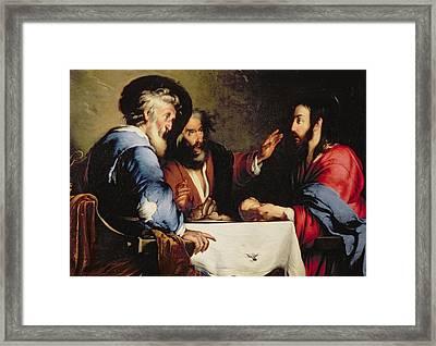 Supper At Emmaus Framed Print by Bernardo Strozzi