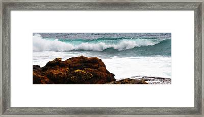 Surf Breaking Near Coast Framed Print by Phill Petrovic