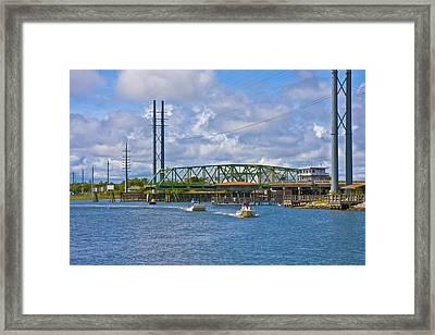Surf City Swing Bridge Framed Print by Betsy Knapp