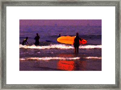 Surf Lessons Framed Print by Ron Regalado