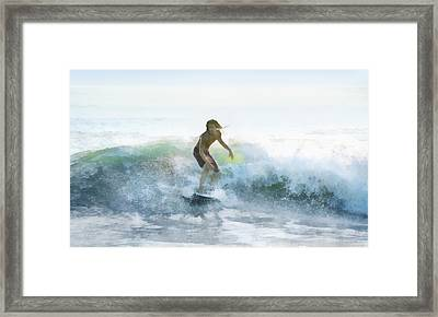Surfer On A Morning Wave Framed Print by Francesa Miller