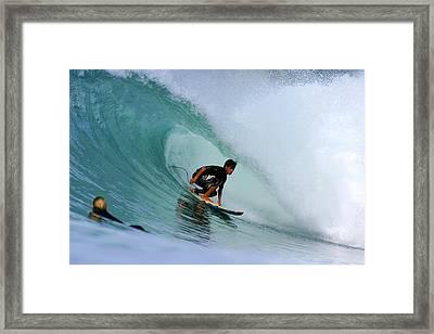 Surfer On Backhand Near Tube, Lagundri Bay, Pulau Nias, North Sumatra, Indonesia, South-east Asia Framed Print by Paul Kennedy