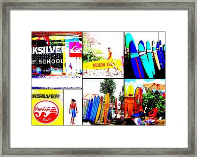 Surfing Bali Beaches Framed Print by Funkpix Photo Hunter