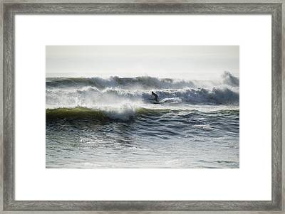 Surfing In The Pacific, At Huanchaco Framed Print by Nigel Hicks