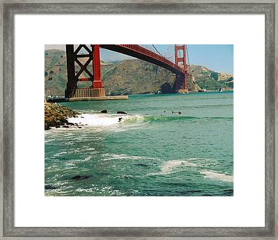 Surfing The Golden Gate Framed Print by Rhonda Jackson