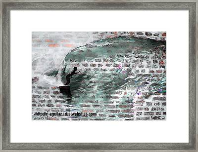 Surfing The Wall Framed Print by RJ Aguilar