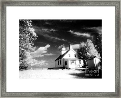 Surreal Black White Infrared Black Sky Lighthouse - Traverse City Michigan Mission Point Lighthouse Framed Print by Kathy Fornal