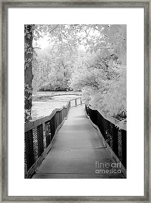 Surreal Black White Infrared Bridge Walk Framed Print by Kathy Fornal