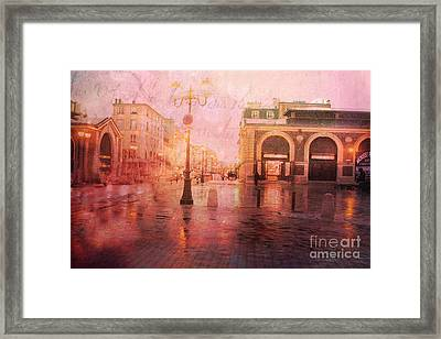 Surreal Dreamy Rainy Streets Of Versailles France Framed Print by Kathy Fornal