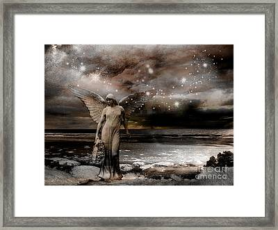 Surreal Fantasy Celestial Angel With Stars Framed Print by Kathy Fornal