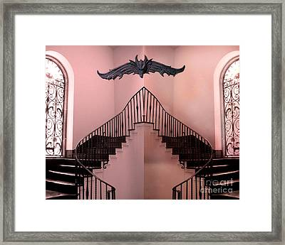 Surreal Fantasy Gothic Gargoyle Over Staircase Framed Print by Kathy Fornal
