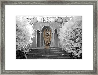 Surreal Ethereal Angel Standing On Steps - Surreal Infrared Angel Art Framed Print by Kathy Fornal