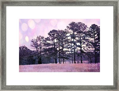 Surreal Fantasy Nature Purple Trees Landscape Framed Print by Kathy Fornal