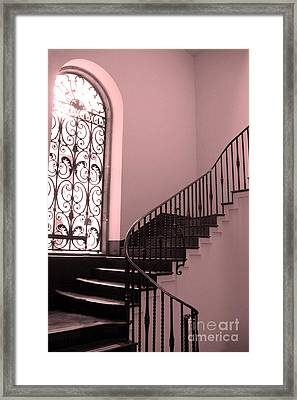 Surreal Pink And Black Stairs - Architectural Staircase Window And Stairs Framed Print by Kathy Fornal