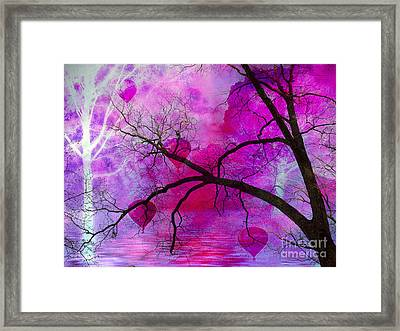 Surreal Fantasy Pink Purple Tree With Balloons Framed Print by Kathy Fornal