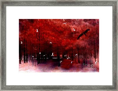 Surreal Fantasy Red Woodlands With Birds Seagull Framed Print by Kathy Fornal