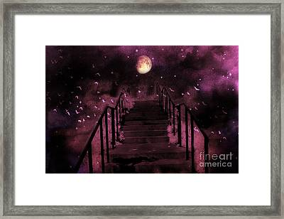 Surreal Fantasy Stairs Moon Birds Stars  Framed Print by Kathy Fornal