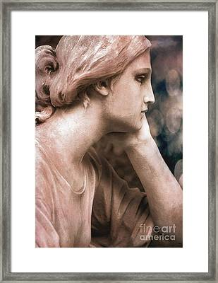 Surreal Female Face Dreamy Contemplation  Framed Print by Kathy Fornal