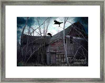 Surreal Gothic Old Barn With Ravens Crows  Framed Print by Kathy Fornal
