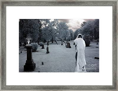 Surreal Gothic Spooky Grim Reaper And Skull Framed Print by Kathy Fornal