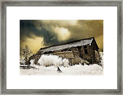 Surreal Infrared Barn Scene With Stormy Sky Framed Print by Kathy Fornal