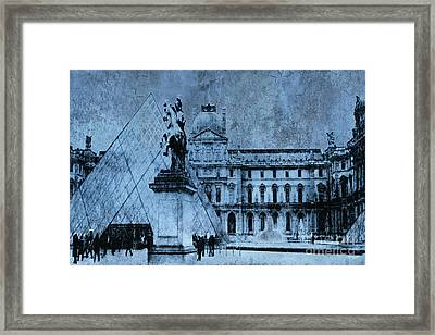 Surreal Paris In Blue - Musee Du Louvre Pyramid Framed Print by Kathy Fornal