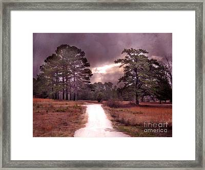 Surreal Pink Landscape With Purple Sunset Framed Print by Kathy Fornal