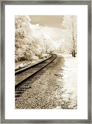 Surreal Sepia Infrared Landscape Railroad Tracks Framed Print by Kathy Fornal