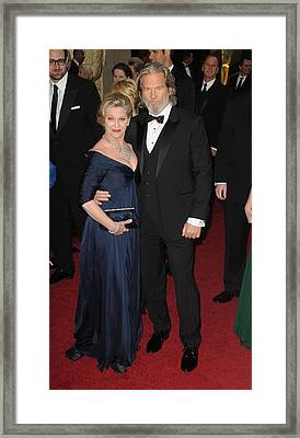 Susan Bridges, Jeff Bridges At Arrivals Framed Print by Everett