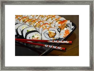 Sushi And Chopsticks Framed Print by Carolyn Marshall