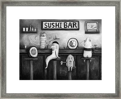 Sushi Bar Bw Version Framed Print by Leah Saulnier The Painting Maniac