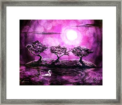 Swan In A Magical Lake Framed Print by Laura Iverson