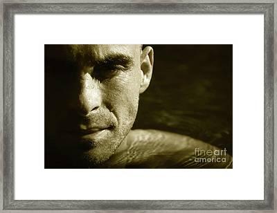 Swimmer In Water Framed Print by Sandra Cunningham