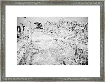 Swimming Pools In The Gymnasium And Baths In The Ancient Site Of Old Roman Villa Salamis Framed Print by Joe Fox