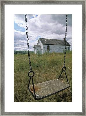 Swing At Old School House, Quappelle Framed Print by Dave Reede