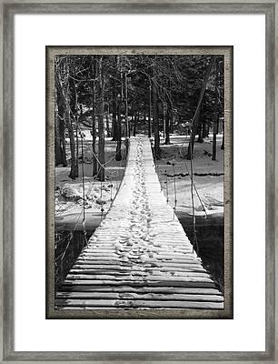 Swinging Cable Foot Bridge Framed Print by John Stephens
