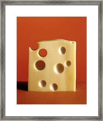 Swiss Cheese Framed Print by Laurie Rubin