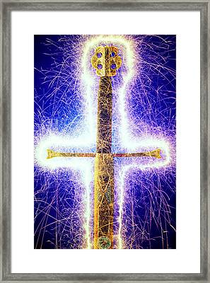 Sword With Sparks Framed Print by Garry Gay