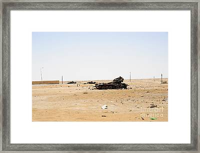 T-55 Tanks Destroyed By Nato Forces Framed Print by Andrew Chittock