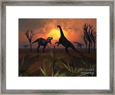 T. Rex Confronts A Group Framed Print by Mark Stevenson