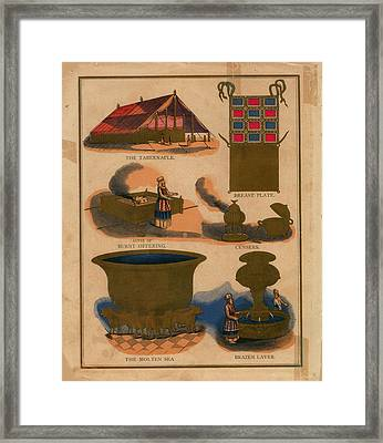 Tabernacle Details Old Testament Brazen Laver Priest Breast Plate Censers Framed Print by Anne Cameron Cutri