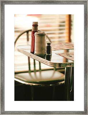 Table At Diner Framed Print by Pierre Desrosiers