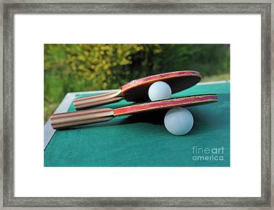 Table Tennis Rackets Framed Print by Sami Sarkis