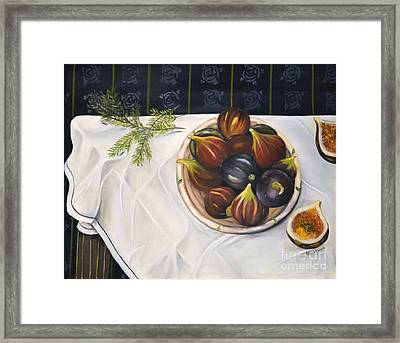 Table With Figs Framed Print by Carol Sweetwood