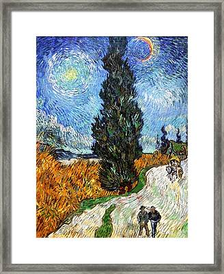 Tall Trees In The Night Framed Print by Sumit Mehndiratta