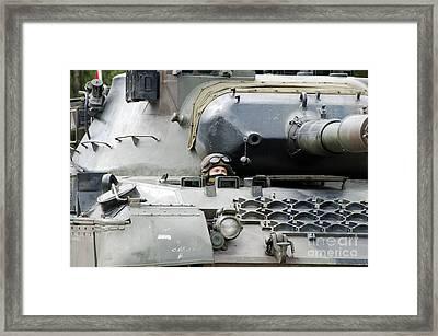 Tank Driver Of A Belgian Leopard 1a5 Framed Print by Luc De Jaeger
