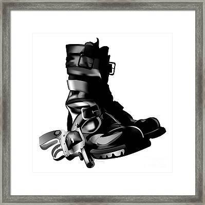 Tankboots And Gun Framed Print by HD Connelly